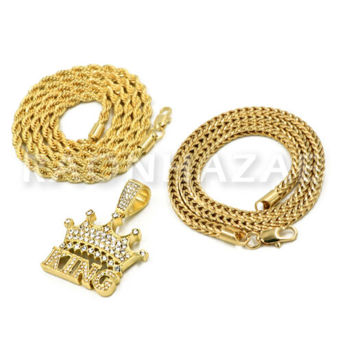 """14k Gold Iced King Pendant W// 4mm 24/"""" Rope Chain 4mm 18/"""" Franco Chain"""