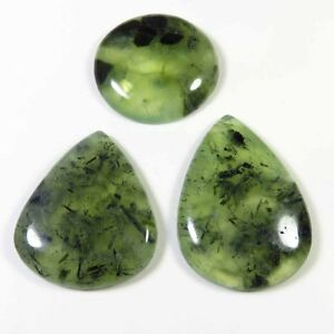 NATURAL-GREEN-PREHNITE-CABOCHON-GEMSTONE-236-Cts-WHOLESALE-LOT-3-Pcs-PRT-120