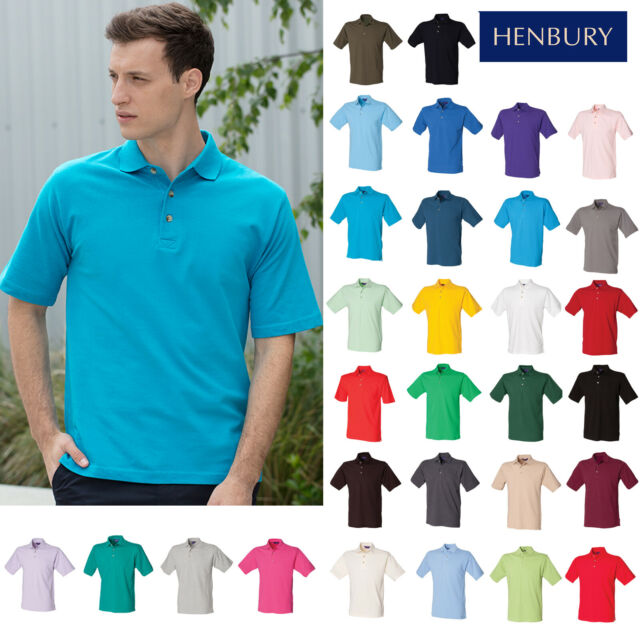 Henbury Classic polo with stand up collar Classic Red 2XL