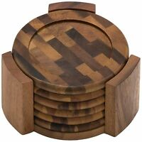 Acacia Wood Coaster Home Garden Table Decor With Holder Pack Of 6 Woodenware Set