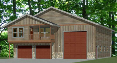 44x48 Apartment with 2-Car 1-RV Garage - PDF FloorPlan ...