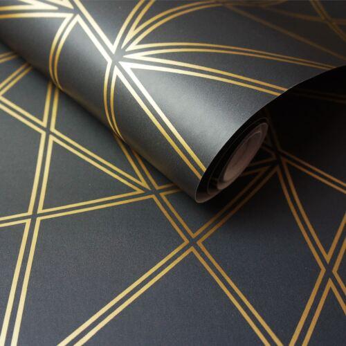 GOLD HOLDEN 90114 METALLIC PALADIUM GEOMETRIC WALLPAPER BLACK
