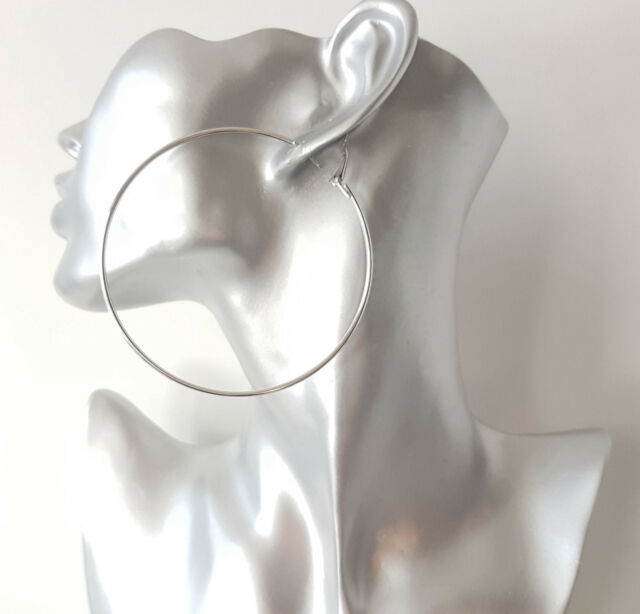 """HUGE 8cm / 3.1"""" plain silver tone BIG hoop earrings LARGE - big HOOPS!!"""