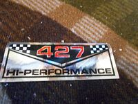 Ford Cobra 427 Hi-performance High Performance Air Cleaner Valve Cover Decal