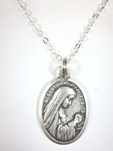 Ladies-St-Gertrude-the-Great-Medal-Pendant-Necklace-20-034-Chain