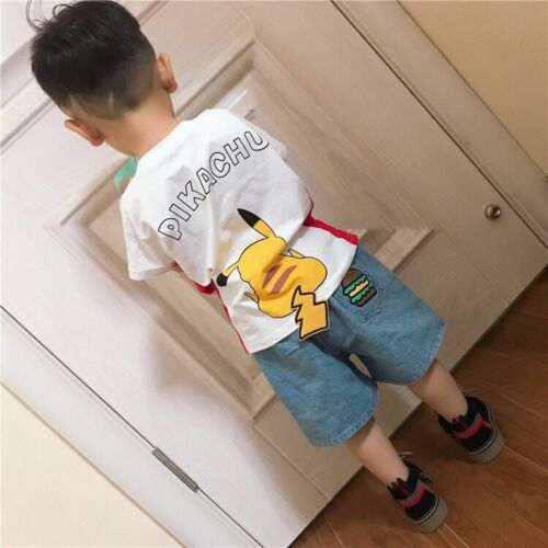Pikachu Top Kid Boy T-shirt Summer Pokemon 3D Tail Cute Shirt Short Children