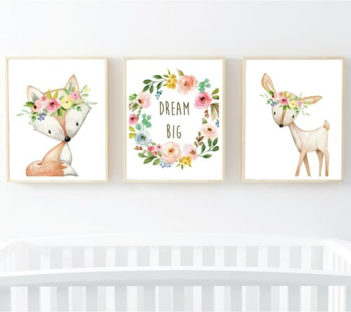 3 Boho Woodland Animals Dream Big Nursery Prints Deer Fox Wall Art Gift 602-A