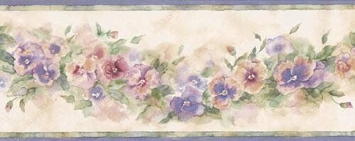 5 BORDERS - Water Colored Pastel Pansies Wallpaper Border