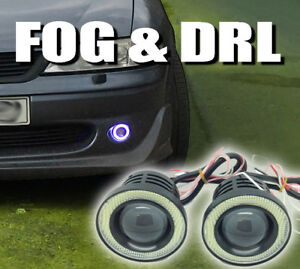 Projector-Cob-LED-Fog-DRL-Spot-Lights-Angel-Eyes-Pair-For-BMW-MINI-S-R53-R56