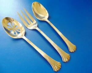 Details about Towle CLASSIC PLUME GOLD Serving Spoons Meat Fork 3 pcs  Electroplate
