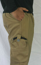 Bwear Men Solids Four Pocket Cargo Pants, Shorts, 3/4th, Casual Wear-Dark Khaki