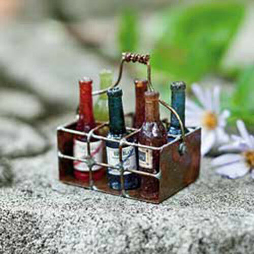 Accessories Miniature Dollhouse FAIRY GARDEN Wire Basket with Wine Bottles