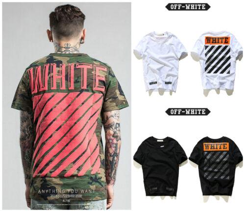 OFF WHITE C//O Virgil Abloh Cotton T-Shirt Short Sleeve Camo Striped Street Wear