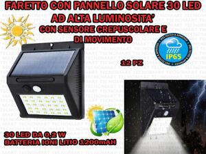 2 FARI 48 LED PER ESTERNO IP 65 PANNELLO SOLARE SENSORE MOVIMENTO E CREPUSCOLARE