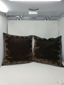 Double-D-Ranch-Home-Collection-Brown-Crushed-Velvet-Metal-Studs-2-Square-Pillow