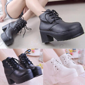 Women-Punk-Round-Toe-Platform-Lace-Up-Goth-Creeper-Chunky-Heel-Ankle-Boots-Shoes