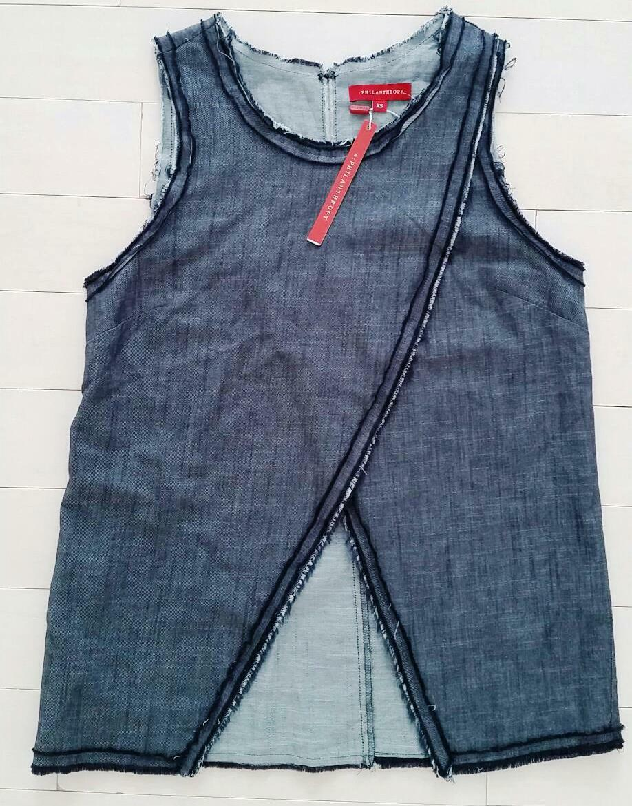 PHILANTHROPY Blau Cross Over TANK oben Cotton Made in L.A ( XS ) FREE SHIPPING