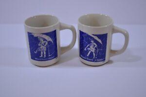 Vintage Morton Salt Girl 1914 & 1921 Logo Mug Set of 2 When It Rains It Pours