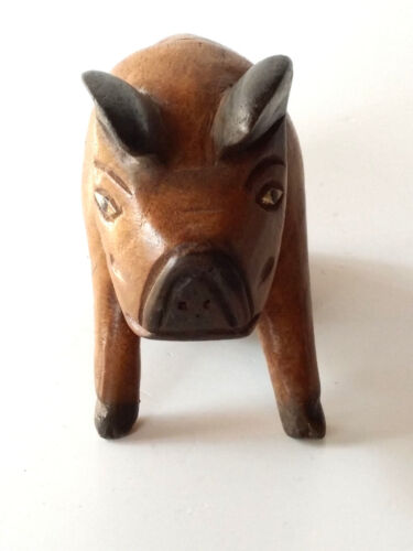 Hand Carved Wooden Pig Figurine Sculpture Teak Wood Carving /& Painted Decor Nos