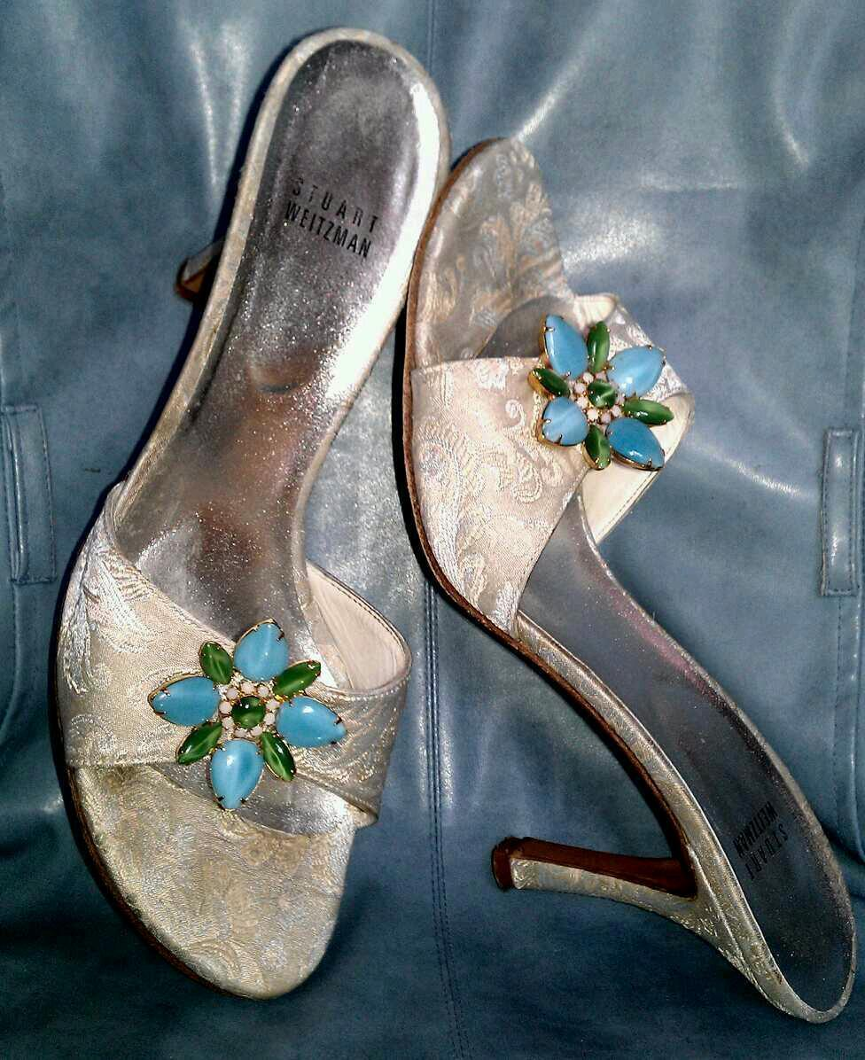 STUART WEITZMAN  295 FAB CHAMPAGNE BROCADE Blau JEWEL FLOWER SANDALS schuhe 40 9