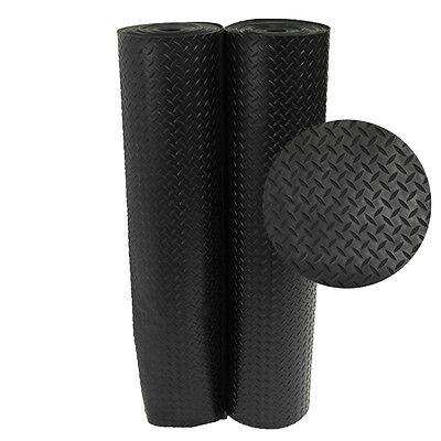 Rubber-Cal Diamond-Plate Rubber Floor Mats - 1/8 x 48-inch Rubber Runner  Black