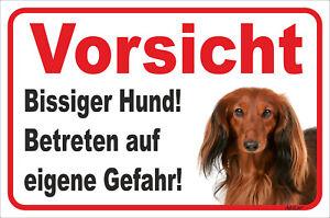 Bissiger Hund 15x20-40x60cm Teckel StäRkung Von Sehnen Und Knochen Gehorsam Dackel Langhaar Rot Schild Vorsicht