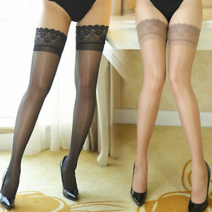 db8803973e2 Details about Women Ultrathin Sheer Lace Top Thigh High Knee Hold Ups Silk  Stockings Hosiery