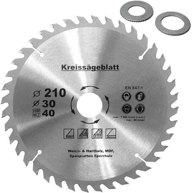Kreissägeblatt für Holz Ø160 x30mm+2 Reduzierringe 16//20mm Z=40 HM Holzsägeblatt