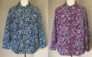 NWOT-Denim-amp-Co-Woven-Floral-Print-Button-Front-Shirt-Silky-Blue-or-Purple-1X