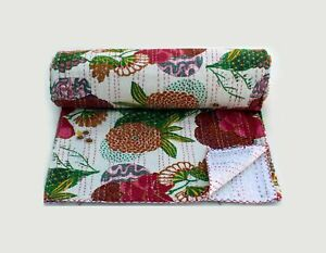 Pure-Cotton-Bedspread-Kantha-Quilt-Vintage-Wall-Hanging-Bed-Cover-Home-Decor