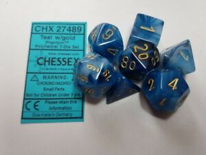 Chessex-Phantom-7-x-Polyhedral-Dice-Set-Teal-with-Gold-D-amp-D-RPG