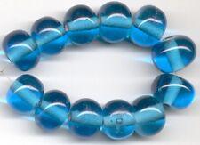Dark Aqua Rondelle Lampwork Glass Beads 12pcs 8x12mm