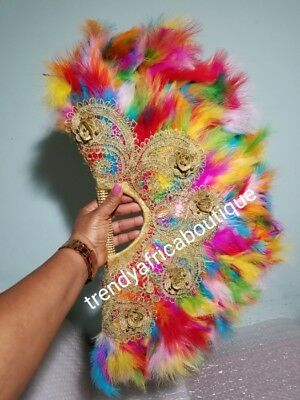 Nigerian Traditional wedding Bridal feather hand fan