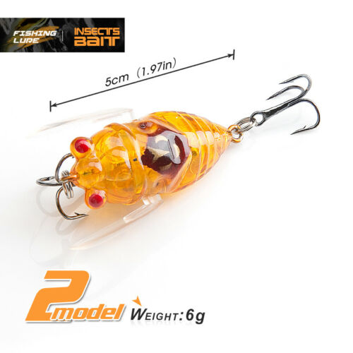 5cm 6g Insect Fishing Lure Soft Wing Bait Bass Crankbait Fishing Floating Tackle