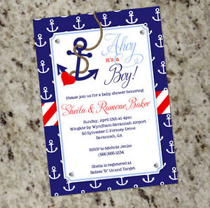 Ahoy It S A Boy Nautical Themed Baby Shower Invitations With