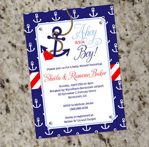 ahoy it 39 s a boy nautical themed baby shower invitations with anchor