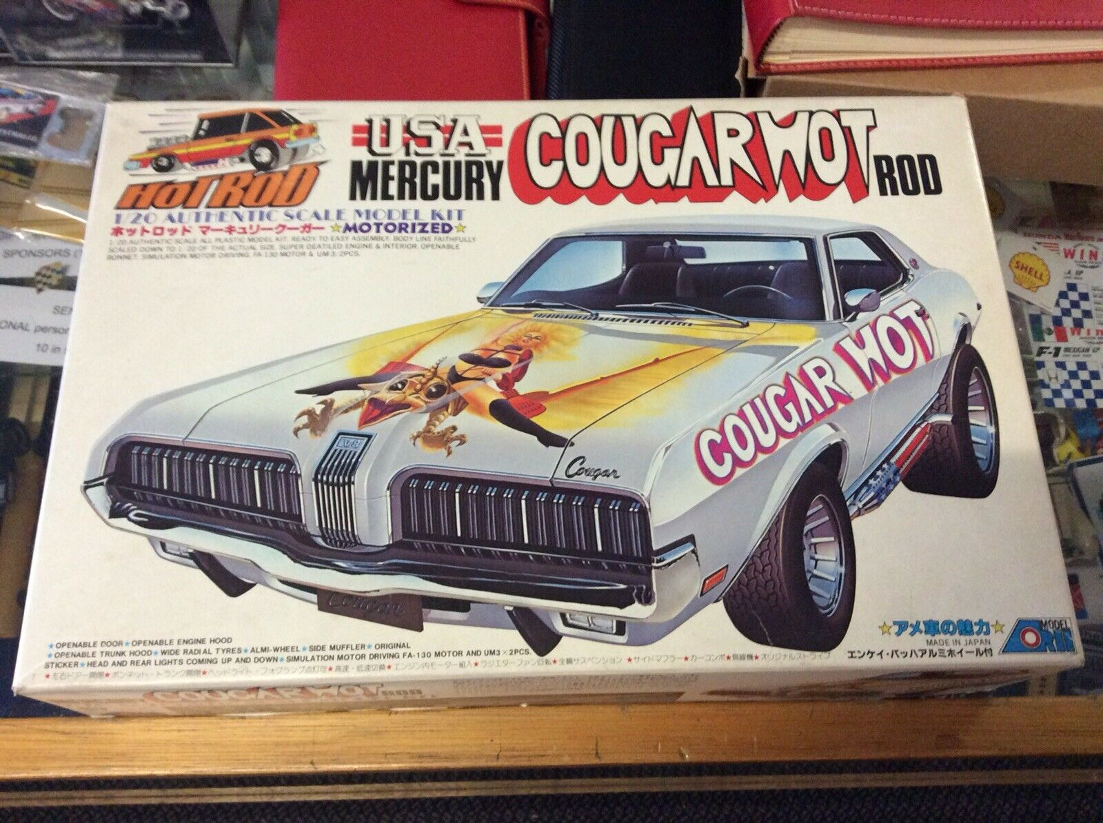 USA MERCURY VINTAGE COUGAR HOT ROD 1 20 MODEL KIT ARII JAPAN MINT CONDITION