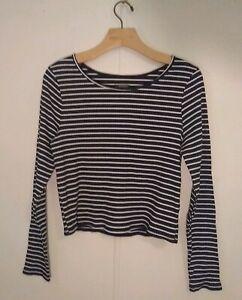 Wild-Fable-Women-039-s-Top-Shirt-Size-XL-Black-White-Stripes-Long-Sleeve-Boat-Neck