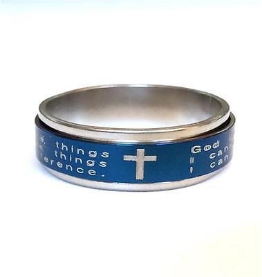 Serenity Prayer Spinner Ring Band Blue Stainless Steel Aa