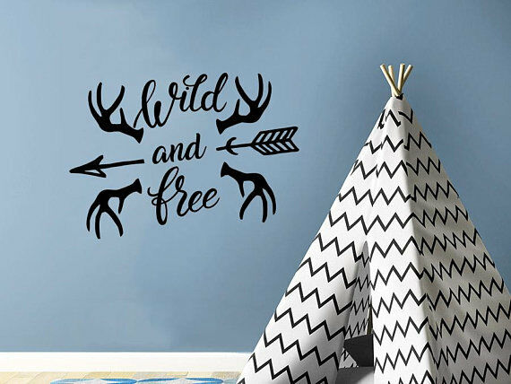 Wall Decals Wild and Free Vinyl Stickers Tribal Arrow Decal Rustic Nursery C688