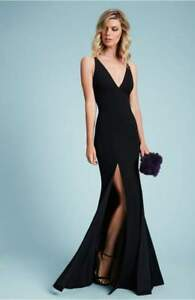 e18d949c DRESS THE POPULATION Bridal Black Iris High Slit V-Neck Crepe Gown ...