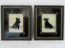 Vintage 1930s Pair Framed Scottie Dog Sillouettes Painted Reverse on Glass