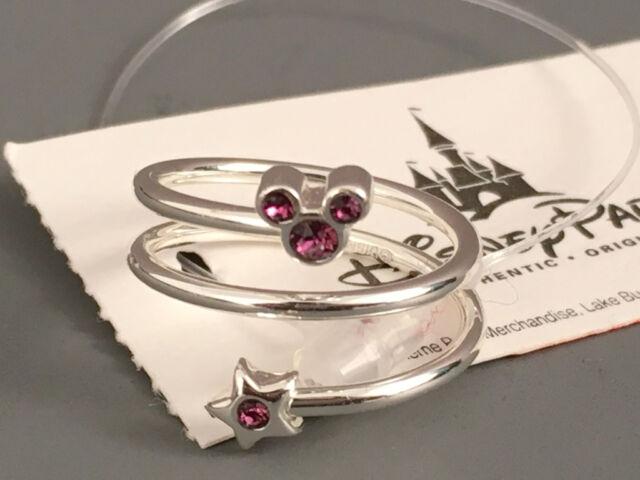 eae2c8f7f6f0b NWT Disney Parks Mickey Mouse Birthstone Ring Adjustable w/Crystals PURPLE