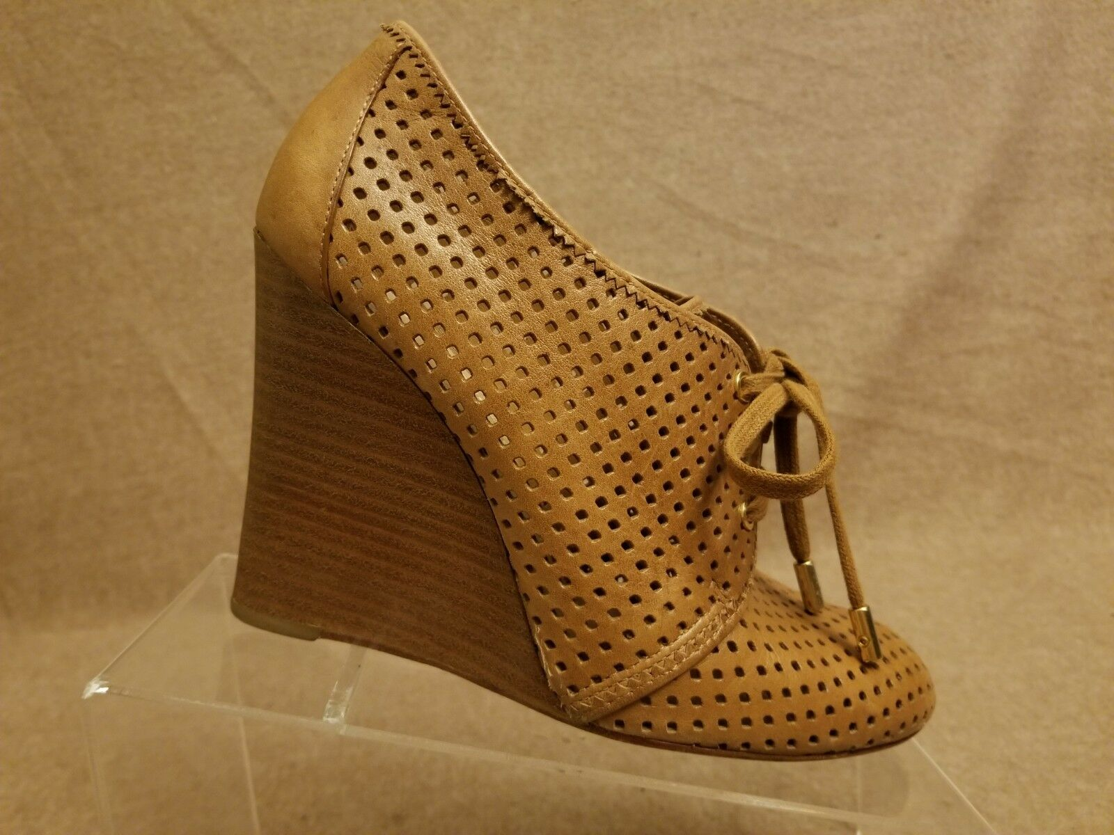Tory Burch Women Brown Leather Perforated Ankle Wedge Lace Up Booties Size 9 M