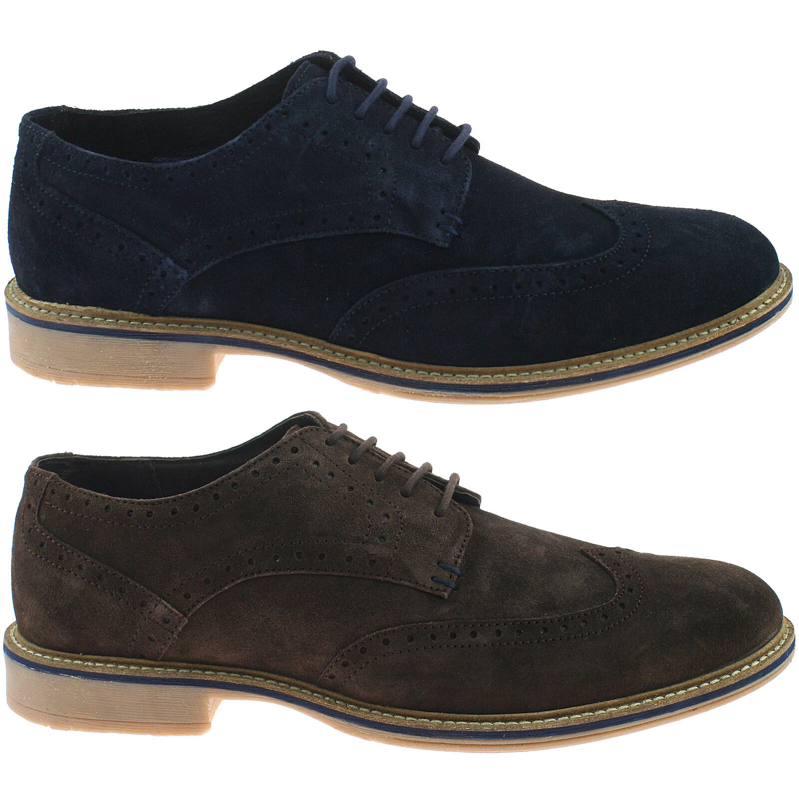 MENS ROAMERS SUEDE LEATHER BROGUE SHOES SIZE CASUAL LACE UP M617 KD