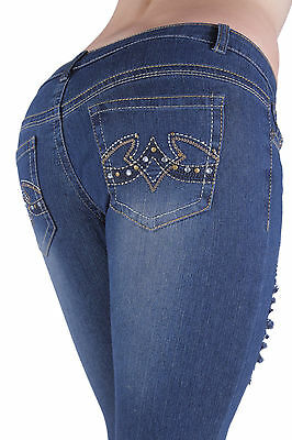 P8608 - Colombian Style Stretch Denim, Classic Ripped, Skinny Jeans