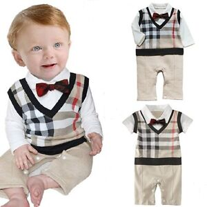 d0fbbec1c Baby Boy Wedding Tuxedo Formal Dressy Checked Suit OnePiece Outfit ...