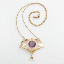 Antique Edwardian Art Nouveau 9ct Gold Amethyst Cultured Pearl Pendant Necklace