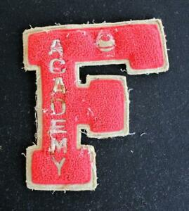 """VINTAGE 1960'S-1970'S SCHOOL RED AND GRAY PATCH 5 1/2"""" X 6 1/2"""""""
