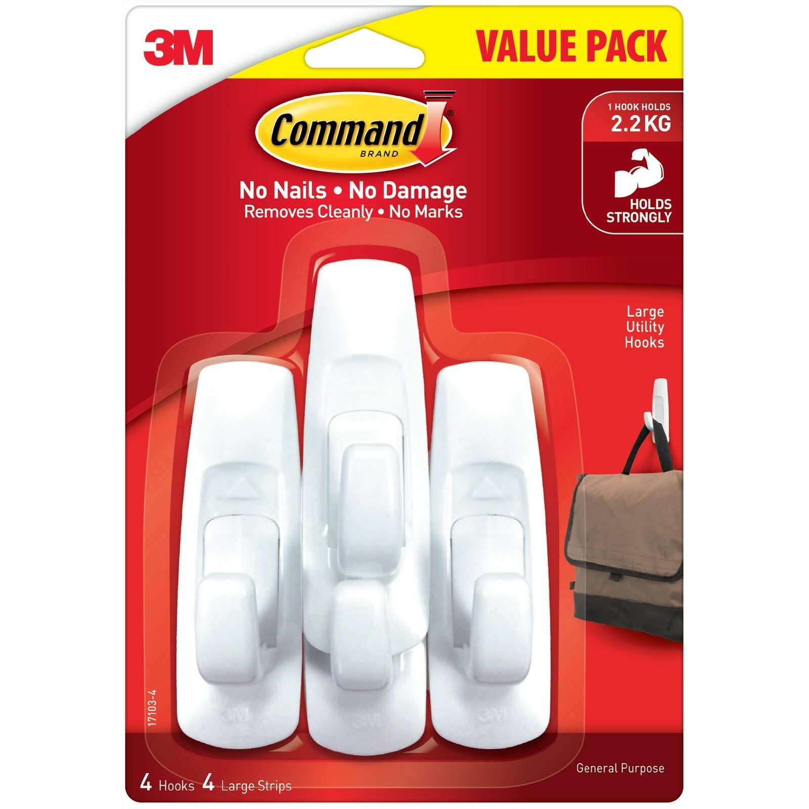 Command LARGE UTILITY HOOKS 4Pcs Hold Up To 2.2Kg,Remove Cleanly WHITEUSA Brand